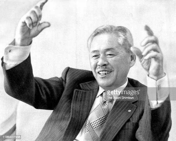 Toyota Motor Co Vice President Taiichi Ohno speaks during the Asahi Shimbun interview at the company headquarters on April 1 2000 in Toyota Aichi...