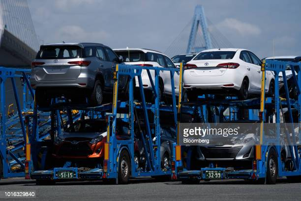 Toyota Motor Cop vehicles sit in car carrier trailers at the Nagoya Port in Nagoya Japan on Tuesday July 31 2018 Japan is scheduled to release trade...