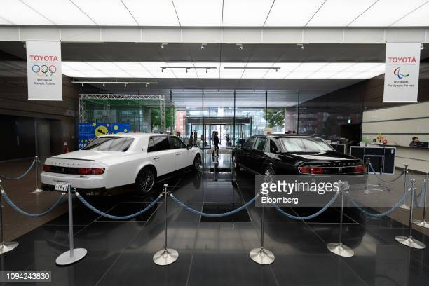 Toyota Motor Corp Century vehicles are displayed at the company's head office in Tokyo Japan on Wednesday Feb 6 2019 Toyota cut its fullyear...