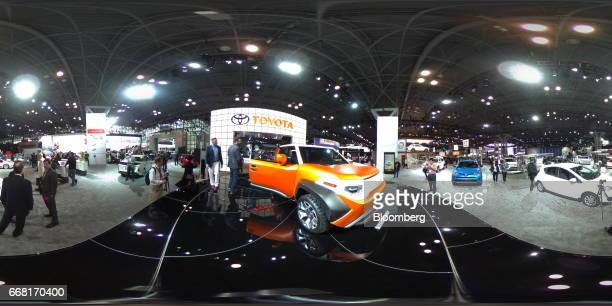 A Toyota Motor Corp FT4X concept vehicle sits on display during the 2017 New York International Auto Show in New York US on Thursday April 13 2017...