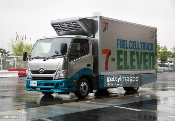 A Toyota Motor Corp fuel cell truck sits parked during a demonstration at a news conference jointly held by Toyota and SevenEleven Japan Co in Tokyo...