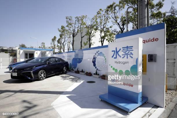 A Toyota Motor Corp Mirai fuelcell vehicle sits parked at the Kawasaki Hydrogen Station operated by Air Liquide Japan Ltd in Kawasaki Kanagawa...