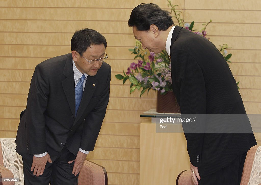 Toyota Motor Corp. President Akio Toyoda (L) is welcomed by Japanese Prime Minister Yukio Hatoyama at Hatoyama's official residence, on March 8, 2010 in Tokyo, Japan. Toyoda briefed Hatoyama on Toyota's plans to improve quality control after a series of safety concerns and a major vehicle recall.