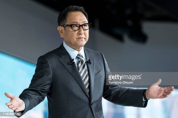 Toyota Motor Corp. President Akio Toyoda speaks during a press conference at the Tokyo Motor Show on October 23, 2019 in Tokyo, Japan. The auto show...