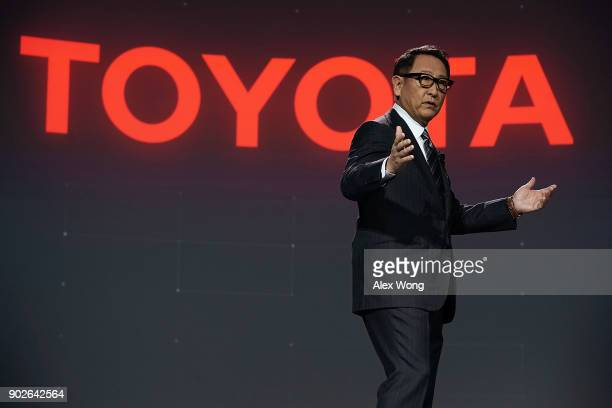 Toyota Motor Corp President Akio Toyoda speaks during a press event for CES 2018 at the Mandalay Bay Convention Center on January 8 2018 in Las Vegas...