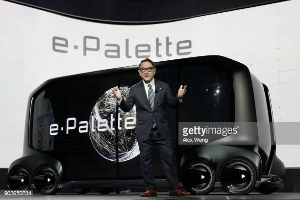Toyota Motor Corp President Akio Toyoda speaks in front of the ePalette Concept Vehicle a fully autonomous batteryelectric vehicle with open control...