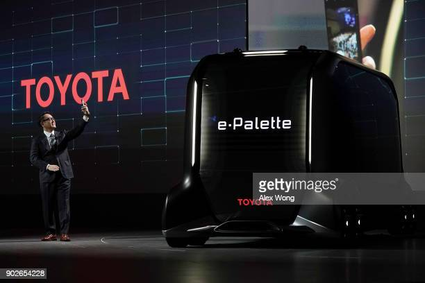 Toyota Motor Corp. President Akio Toyoda takes a selfie after he introduced the e-Palette Concept Vehicle, a fully autonomous, battery-electric...