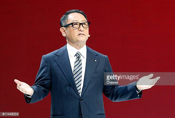 Toyota Motor Corp President and CEO Akio Toyoda speaks during a press conference during the press day of the Paris Motor Show on September 29 in...