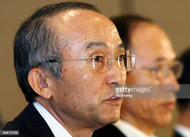 Toyota Motor Corp President Katsuaki Watanabe speaks to the media at the Toyota Environmental Forum in Tokyo Japan Tuesday June 13 2006 Toyota Motor...