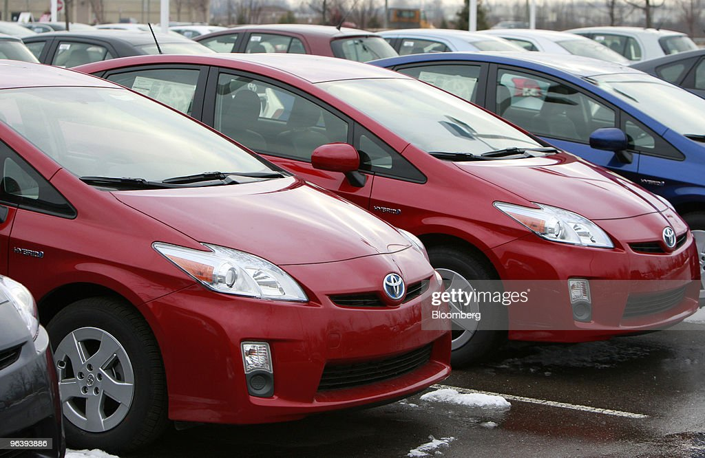 Toyota Motor Corp Prius Hybrids Sit On The Lot At Victory Toyota In Canton  Michigan US