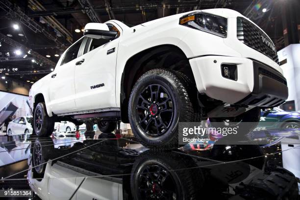 Toyota Motor Corp Tundra TRD Pro pickup truck sits on display during the Chicago Auto Show in Chicago Illinois US on Thursday Feb 8 2018 First staged...