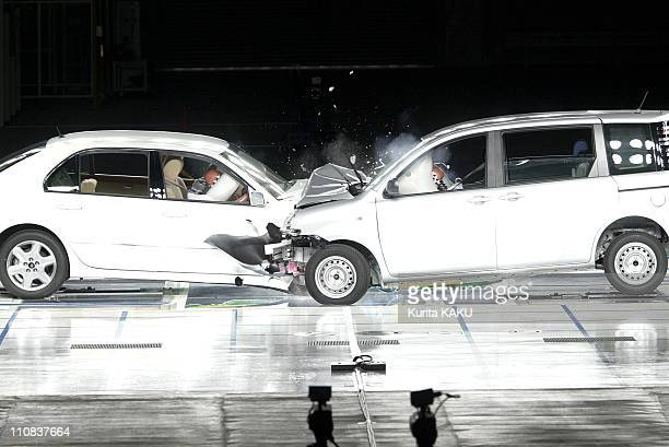 Toyota Motor Corp Vehicles Celsior And Sienta Both Running At 50 Kph Crash Into Each Other During An Offset Collision Test At Toyota'S HigashiFuji...