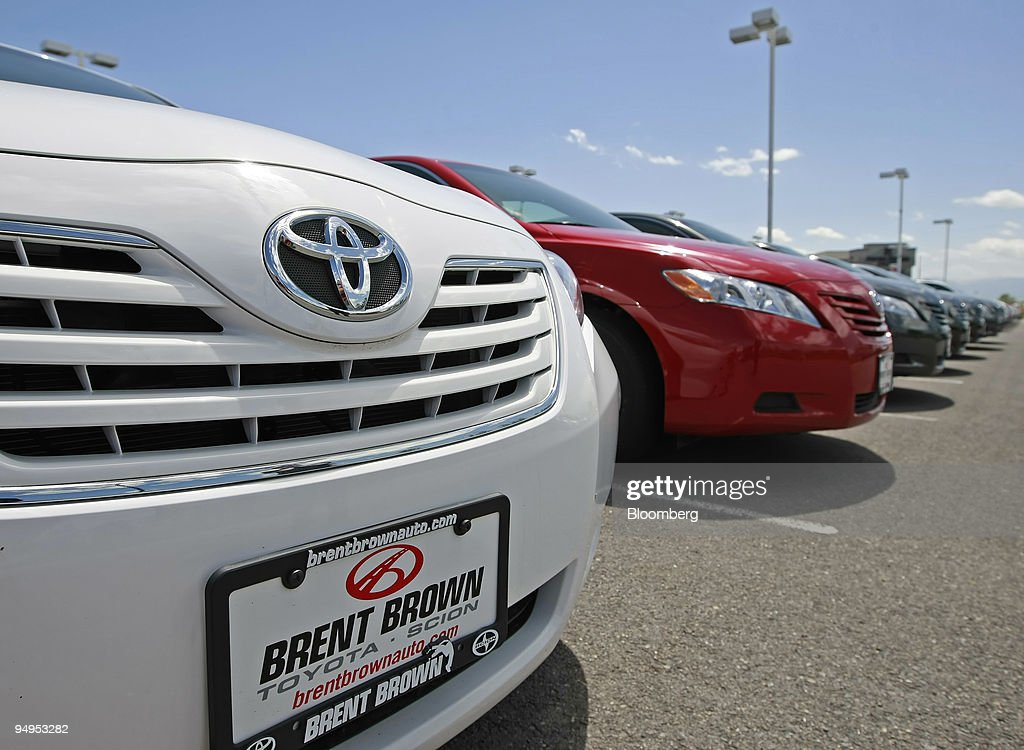 Toyota Motor Corp. Vehicles Sit In The Lot Of Brent Brown To : News Photo