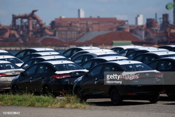Toyota Motor Corp Yaris vehicles bound for shipment stand at the Nagoya Port in Nagoya Japan on Tuesday July 31 2018 Japan is scheduled to release...