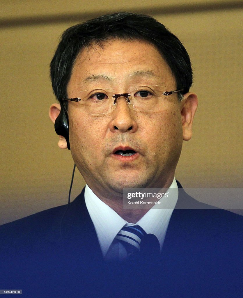 Toyota Motor Corporation (TMC) President Akio Toyoda attends the joint press conference at TMC's headquarters on May 10, 2010 in Toyota, Japan.