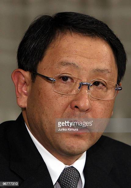 Toyota Motor Corporation President Akio Toyoda speaks during a press conference at their Tokyo headquarters on February 17 2010 in Tokyo Japan Toyota...