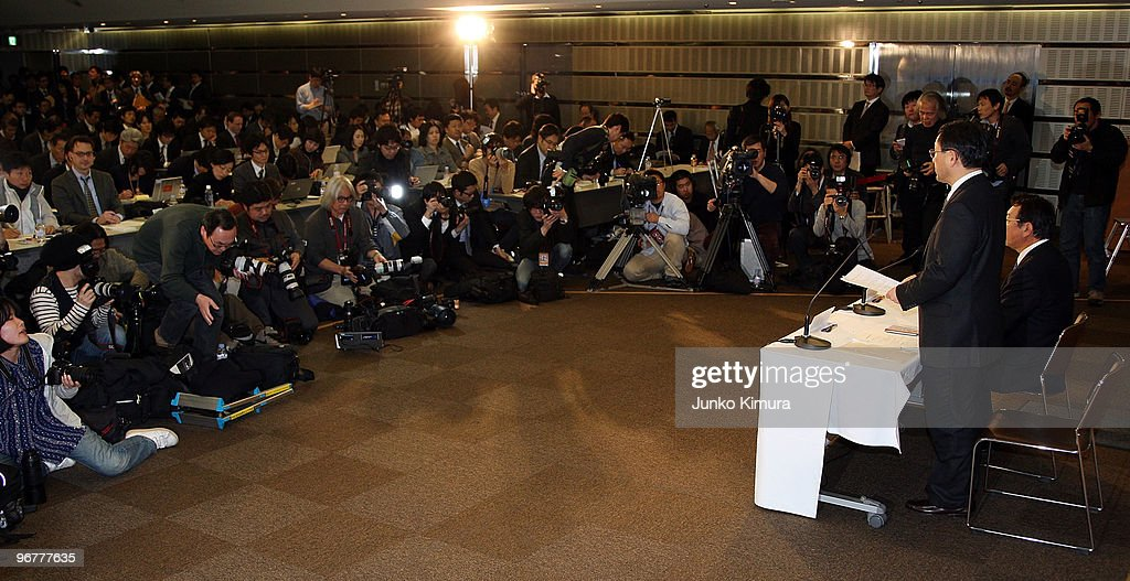 Toyota Motor Corporation President Akio Toyoda (R) speaks during a press conference at their Tokyo headquarters on February 17, 2010 in Tokyo, Japan. Toyota promised a brake-override system in all future models worldwide, also will set up third-party research organization to test its electronic throttle control system.
