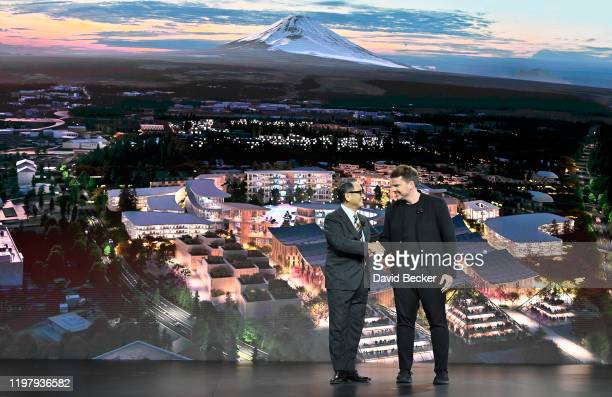 Toyota Motor Corporation President and CEO Akio Toyoda and Bjarke Ingels Group Founder and Creative Partner Bjarke Ingels speak during a Toyota press...