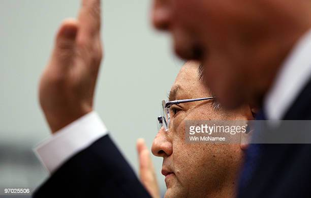 Toyota Motor Corporation President and CEO Akio Toyoda and Toyota Motor North Ameica CEO Yoshiumi Inaba are sworn in before the House Oversight and...