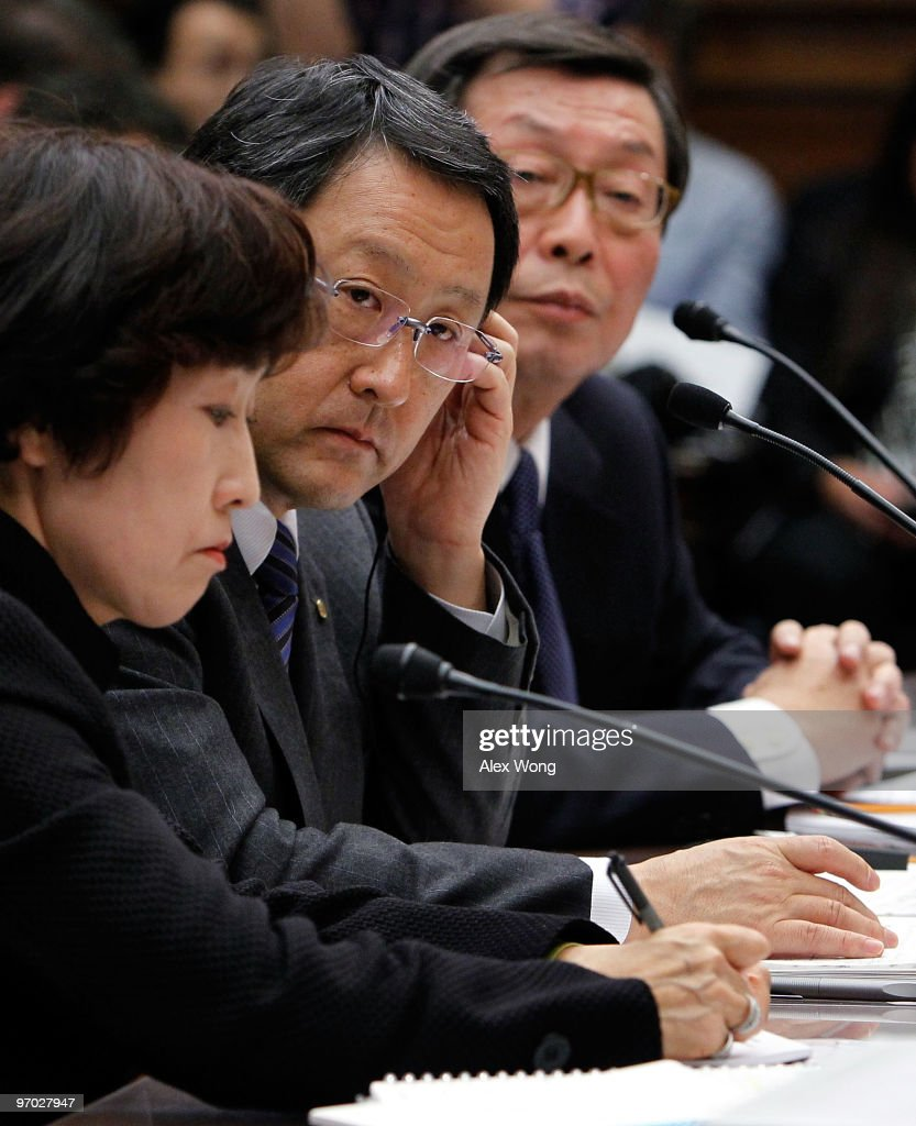 Toyota Motor Corporation President and CEO Akio Toyoda (C) and Toyota Motor North Ameica CEO Yoshiumi Inaba (R) testify before the House Oversight and Government Reform Committee with their interpreter (L) during a hearing on Capitol Hill February 24, 2010 in Washington DC. The committee is hearing testimony on the recall of millions of Toyota vehicles due to reports of malfunctioning gas pedals.