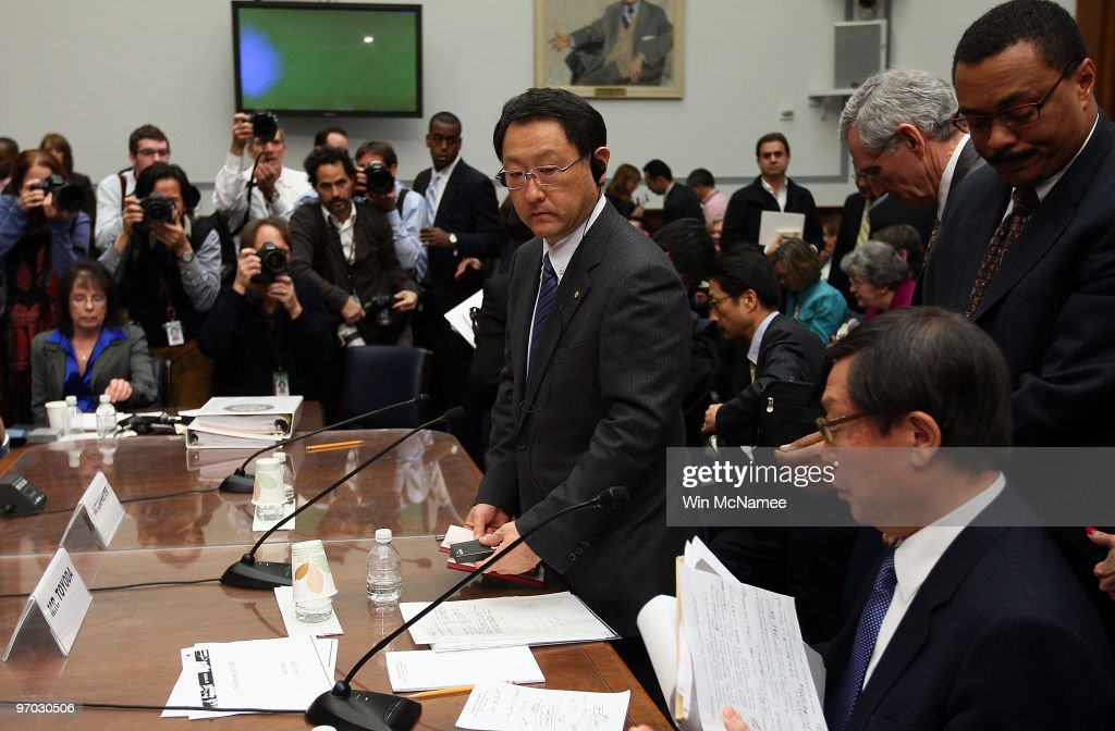 Toyota Motor Corporation President and CEO Akio Toyoda (C) and Toyota Motor North America CEO Yoshimi Inaba (R) conclude testimony before the House Oversight and Government Reform Committee on Capitol Hill February 24, 2010 in Washington DC. The committee is hearing testimony on the recall of millions of Toyota vehicles due to reports of malfunctioning gas pedals.