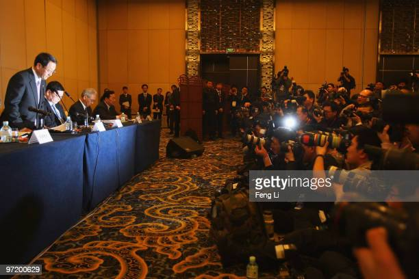 Toyota Motor Corporation President and CEO Akio Toyoda bows to offer a sincere apology during a news conference on March 1 2010 in Beijing China...