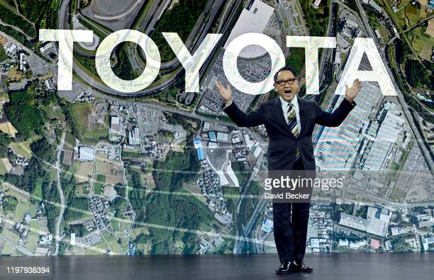 Toyota Motor Corporation President and CEO Akio Toyoda speaks during a Toyota press event for CES 2020 at the Mandalay Bay Convention Center on...