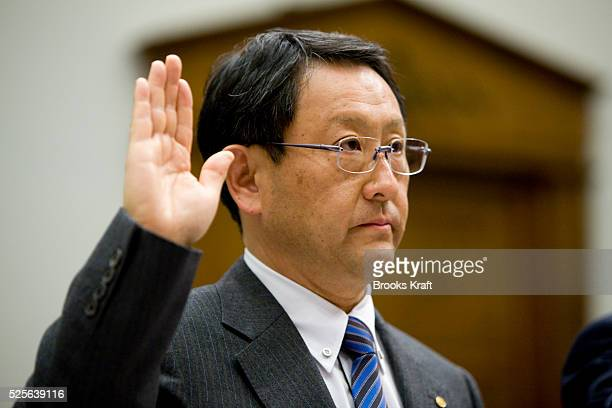 Toyota Motor Corporation President is sworn-in before the House Oversight and Government Reform Committee hearing on Capitol Hill in Washington DC....
