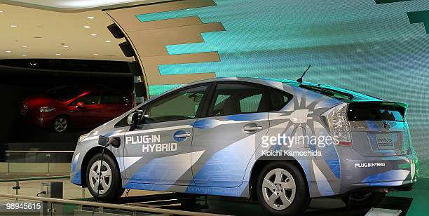 Toyota Motor Corporation's Prius plugin hybrid concept car sits on display during the joint press conference at TMC's headquarters on May 10 2010 in...