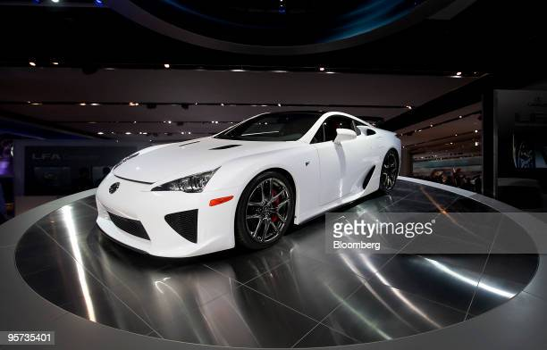 Toyota Motor Corp's Lexus LFA sports car sits on display during day two of the 2010 North American International Auto Show in Detroit Michigan US on...
