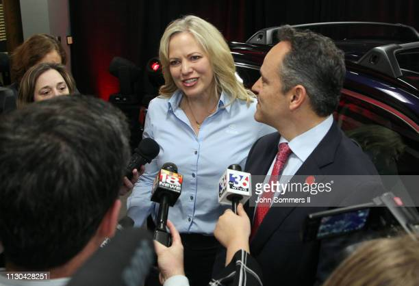 Toyota Motor Manufacturing Kentucky President Susan Elkington and Kentucky Governor Matt Bevin addresses the media after unveiling the new 2019...