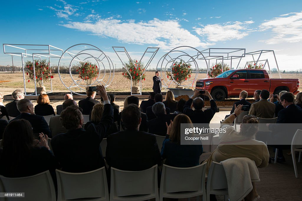 Toyota Motor North America Chief Executive Officer Jim Lentz addresses a group of 75 special guests and local media on January 20, 2015 in Plano, Texas. With the help of a 2015 TRD Pro Series Tundra rigged with a plow, the first soil was moved on what will be the site of Toyotas new $350 million campus.
