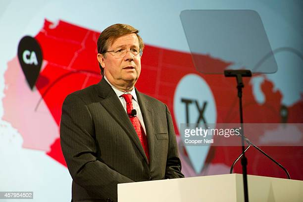 Toyota North America CEO Jim Lentz speaks during the Toyota 'Hello Texas' event on October 27 2014 in Plano Texas