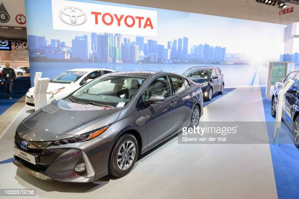 Toyota Prius hybrid plugin hybrid on display at Brussels Expo on January 13 2017 in Brussels Belgium The fourth generation is fitted with a 18 liter...