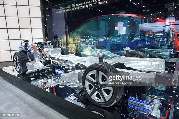 Toyota Prius Hybrid's structure is seen during Auto show at the LA Convention center in Los angeles USA on November 18 2015