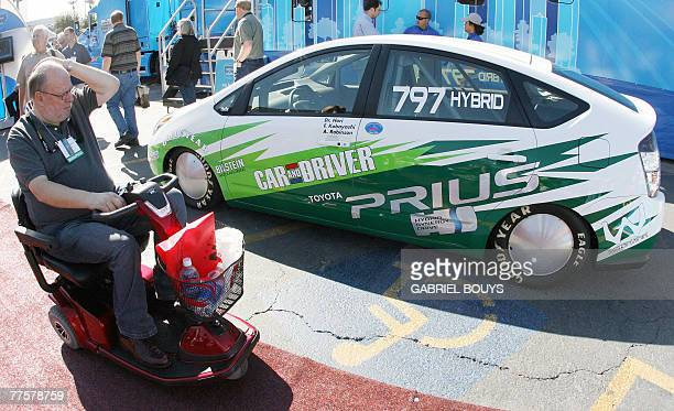 A Toyota Prius modified to become the quickest hybrid car in the world is shown at the SEMA show in Las Vegas Nevada 30 October 2007 The Sema show is...