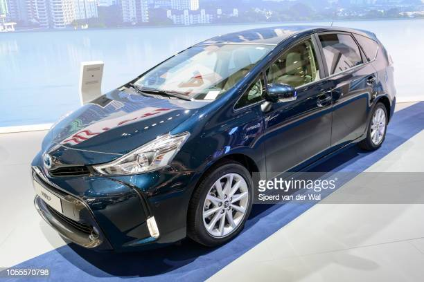 Toyota Prius mpv stationwagon'n on display at Brussels Expo on January 13 2017 in Brussels Belgium The Prius is also marketed as Prius v or Prius in...