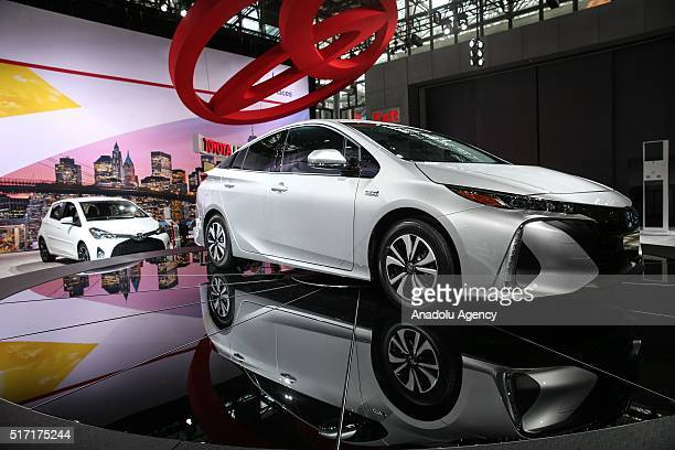 Toyota Prius Plugin Hybrid model car is on display during the 116th New York International Auto Show at the Javits Convention Center in Manhattan New...