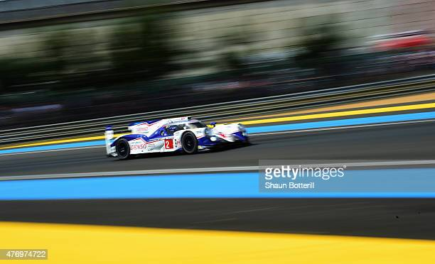 Toyota Racing driven by Alexander Wurz, Stephane Sarrazin and Mike Conway during the Le Mans 24 Hour race at the Circuit de la Sarthe on June 13,...