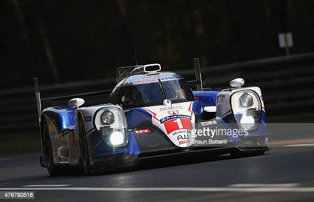 Toyota Racing driven by Anthony Davidson Sebastien Buemi and Kazuki Nakajima during qualifying for the Le Mans 24 Hour race at the Circuit de la...