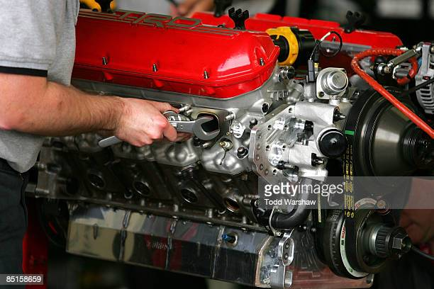 Toyota Racing engine specialists work on Toyota engines during practice for the NASCAR Sprint Cup Series Shelby 427 at the Las Vegas Motor Speedway...