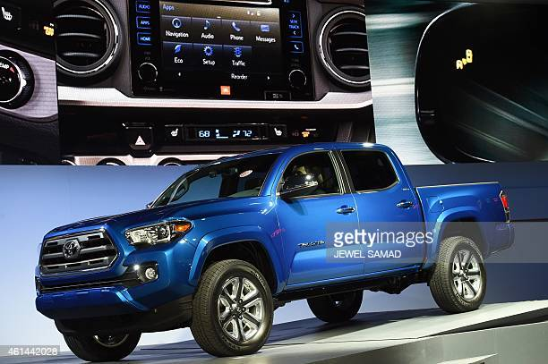 Toyota reveals its new Tacoma truck at The North American International Auto Show in Detroit Michigan on January 12 2015 The annual car show takes...