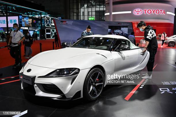 Toyota Supra GR car is seen during the 19th Shanghai International Automobile Industry Exhibition in Shanghai on April 19, 2021.