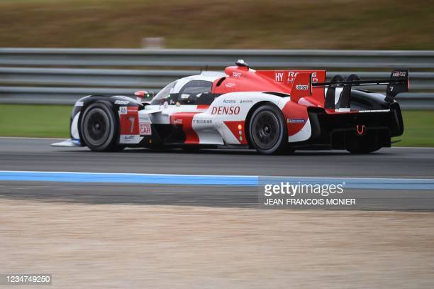 Toyota TS050 Hybrid Hypercar WEC's Argentiian driver Jose Maria Lopez takes part the first practice session in Le Mans, northwestern France, on...