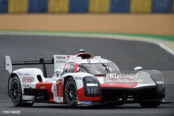 Toyota TS050 Hybrid Hypercar WEC's Japanese driver Kazuki Nakajima takes part in the first practice session in Le Mans, northwestern France, on...