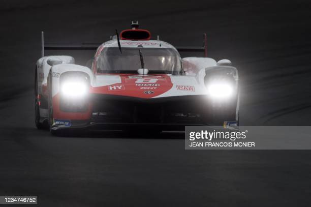 Toyota TS050 Hybrid Hypercar WEC's Swiss driver Sebastien Buemi takes part in the first practice session in Le Mans, northwestern France, on August...