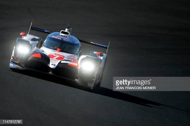 TOPSHOT Toyota TS050 Hybrid LMP1 Argentine's driver Jose Maria Lopez competes during the test day of the 87th edition of the 24 Hours of Le Mans...