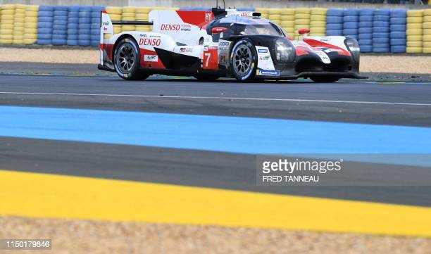 Toyota TS050 Hybrid LMP1 Japan's driver Kamui Kobayashi competes June 16 2019 during the 87th edition of the 24 Hours Le Mans endurance race on June...