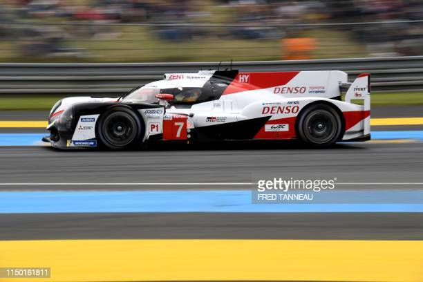 Toyota TS050 Hybrid LMP1 of British's driver Mike Conway compete during the 87th edition of the 24 Hours Le Mans endurance race on June 15 at Le Mans...