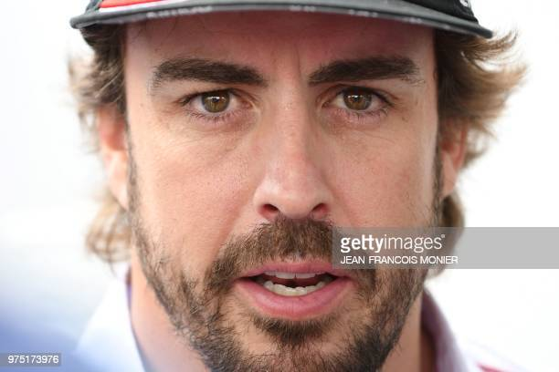 Toyota TS050 Hybrid LMP1 Spainish driver Fernando Alonso speaks during a press conference on the eve of the 86th edition of the 24 Hour race on June...